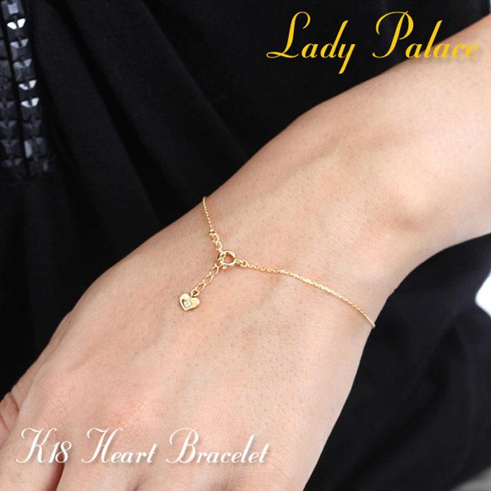 Lady Palace ブレスレット レディース K18 ゴールド 18金 ハート 大人可愛い 18K petit heart bracelet diamond bracelet ダイヤモンド プチ 【送料無料】 プレゼント 母の日 ギフト