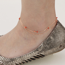 Airy 18金 アンクレット レディース サンゴ 珊瑚 18K gold coral beads anklet K18ゴールド サンゴ ブランド 【送料無料】夏 サマー プレゼント 母の日 ギフト