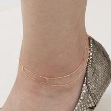 Airy アンクレット レディース K18 18金 PG ピンクゴールド 2連 18K pink gold double chain anklet シンプル ブランド 【送料無料】夏 サマー プレゼント 母の日 ギフト
