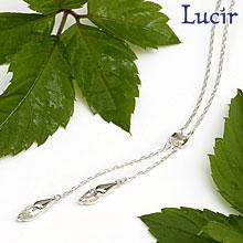 【Lucir】【送料無料】ダブルのしずくが輝く◆dropsシリーズネックレスCZ白 LC-42-1 プレゼント 母の日 ギフト