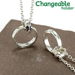 リングホルダー ペンダント ネックレス リング 【changeable】【送料無料】メッセージとDiaが光るペアリングとユリ&クロスのリバーシブルホルダーセット 指輪をネックレスにする 通す プレゼント 母の日 ギフト