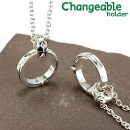 リングホルダー ペンダント ネックレス リング 【changeable】【送料無料】シャープなクロスリングと、ユリ&クロスのリバーシブルホルダーセット 指輪をネックレスにする 通す プレゼント 母の日 ギフト
