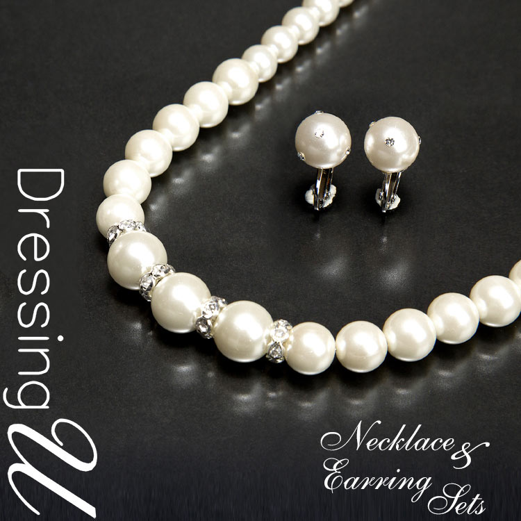 0ecc0f008 Pearl WITH rhinestone necklace & earrings set