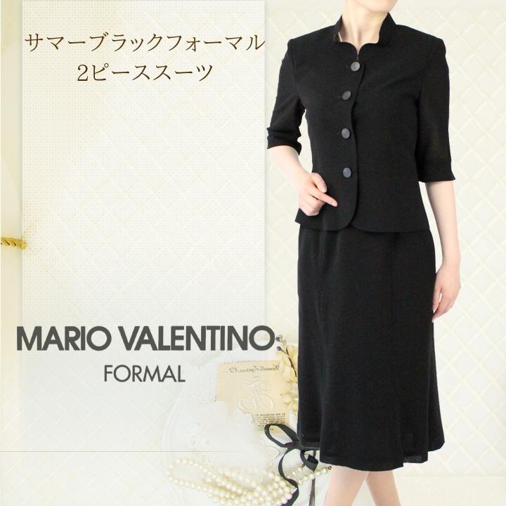 【30%OFF】【9号・15号】マリオ・ヴァレンティーノスタンドカラーのサマーブラックフォーマル2ピース【喪服 礼服】【日本製】[pd]