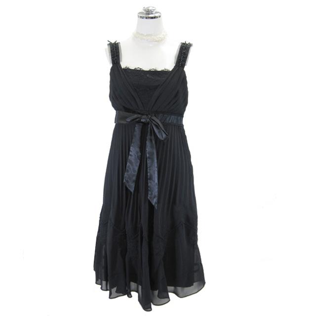 パーティードレス フォーマルドレス リボン付きプリーツドレス 9号 ブラック 展示処分セール(P68)