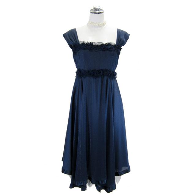 パーティードレス 期間限定送料無料 開店記念セール フォーマルドレス ワンピース フラワー付きドレス ネイビー P81 9号