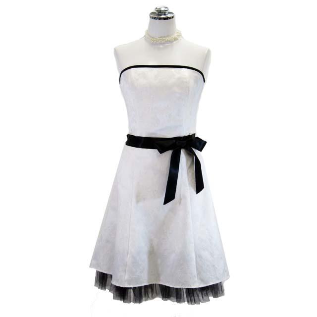 展示品セール パーティードレス フォーマルドレス ウェストリボンドレス ホワイト 7号 P69