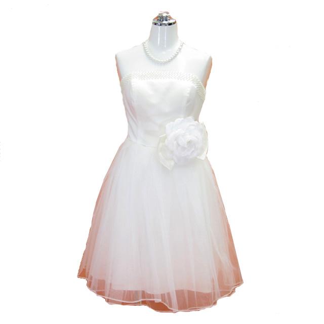 パーティードレス フォーマルドレス リボン付きチュールドレス ウェディングドレス ホワイト 13号 【送料無料】P57