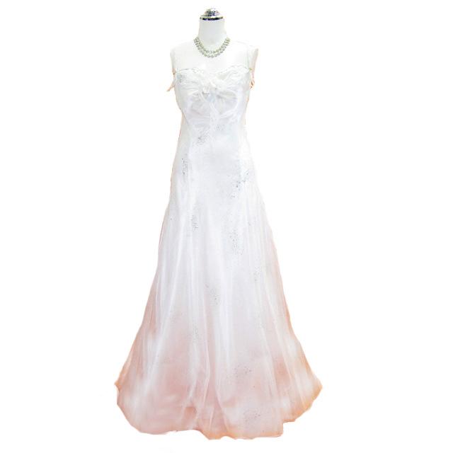 ウェディングドレス フォーマルドレス オーガンジーラメ入り高級ドレス ピンク 9号 【送料無料】L28