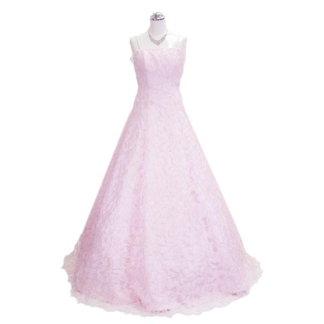 ウェディングドレス ロングドレス 花びらAラインロングドレス ピンク 9号【送料無料】L12