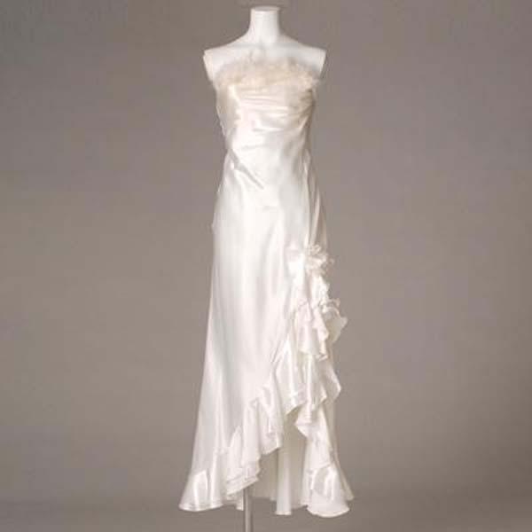 ロングドレス フォーマルドレス 胸元ファーウェディングドレス ホワイト 9号【送料無料】L50