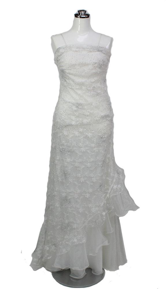 展示処分セール品 ロングドレス フォーマルドレス ラメ入りマーメイドウェディングドレス ラメホワイト 9号 L40