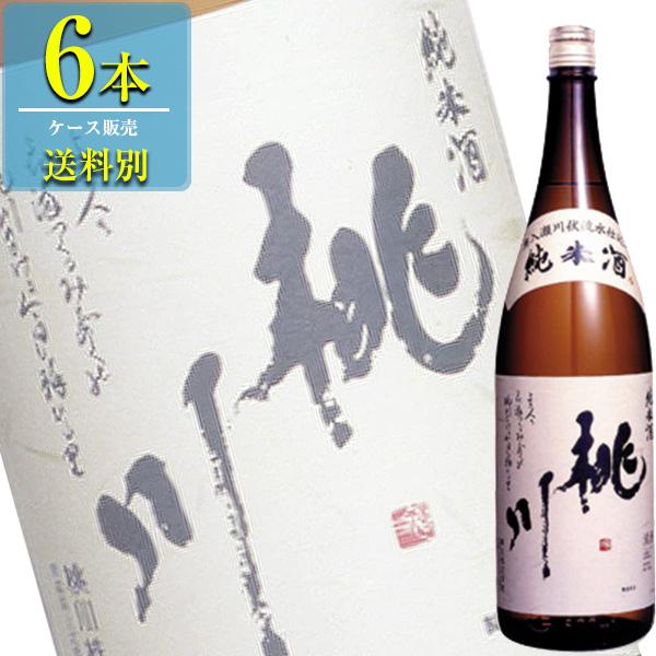 桃川 「純米酒」1.8L瓶x6本ケース販売(清酒) (日本酒) (青森)