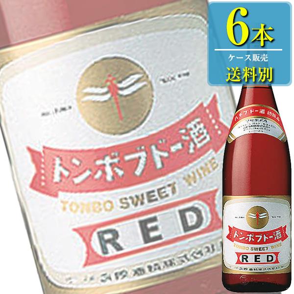 送料別:1ケースごとに1送料 同梱不可 合同酒精 トンボブドー酒 品質保証 赤 海外輸入 国産ワイン 1.8L瓶 6本ケース販売 x 甘味果実酒