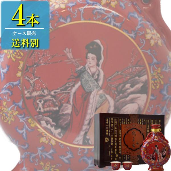 日和商事 越王台陳年 25年 花彫酒 壷 600ml瓶 x4本ケース販売 (紹興酒) (中国酒)