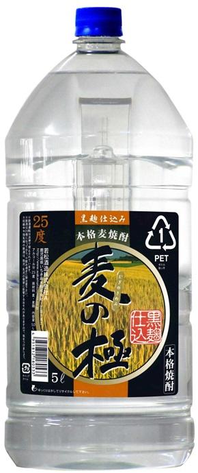 【あす楽・送料無料!!】若松酒造 本格麦焼酎 麦の極 黒麹 25度 5L(5000ml) 1ケース4本 鹿児島
