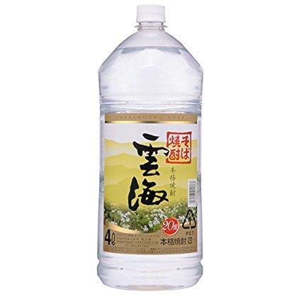 【送料無料】雲海酒造 雲海そば20° そば焼酎 20度 4Lペット 1ケース(4本入)