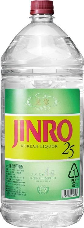 真露株式会社 眞露(ジンロ) JINRO 焼酎甲類 25度 4L(4000ml)1ケース4本