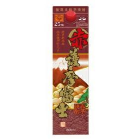 【あす楽・送料無料】濱田酒造 赤 薩摩富士 赤芋仕込み 芋焼酎 25度 1.8L(1800ml)パック 1ケース6本