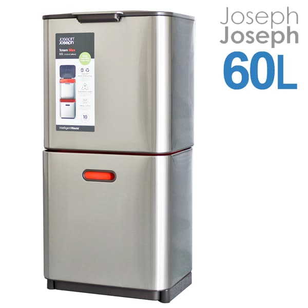 Joseph Joseph ジョセフジョセフ トーテム マックス 60L(30L+30L) ステンレススチール Totem max Waste Separation & Recycling Unit 30060 2段式ゴミ箱【送料無料】