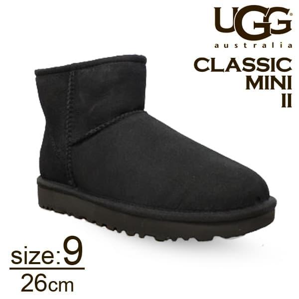 UGG アグ クラシックミニ II ムートンブーツ ウィメンズ ブラック 9(26cm) 1016222 Classic Mini【送料無料】