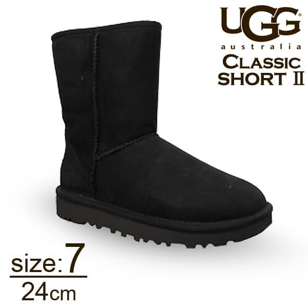 UGG アグ クラシックショート II ムートンブーツ ウィメンズ ブラック 7(24cm) 1016223 Classic Short【送料無料】