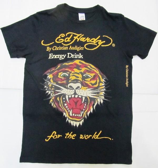 AG14)ED HARDYタイガープリントTシャツ半袖S黒☆US購入