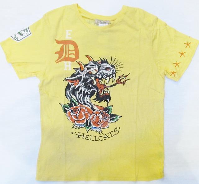 AG82)ED HARDYストーン付デザインTシャツ(HC121105)黄色/2XL☆US購入【送料無料】