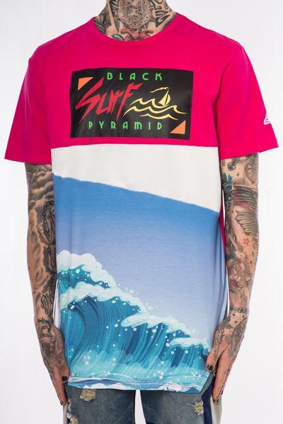 AQ98)BLACK PYRAMID SURF WAVE Tシャツ半袖(Y1160091)ピンク★USLANYカジュアルストリートHIPHOPB系【送料無料】