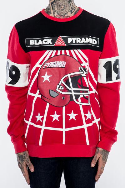 AT24)BLACK PYRAMID BP FOOTBALLトレーナークルーネック(Y5160431)赤★US購入B系HIPHOPカジュアルストリートウエッサイチカーノ【送料無料】