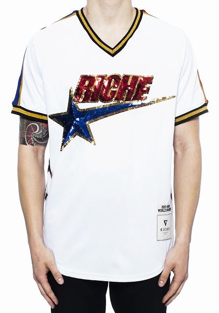 VIE RICHE STARジャージVネックTシャツ(V1071003)AU31★USLANYカジュアルストリートHIPHOPB系【送料無料】