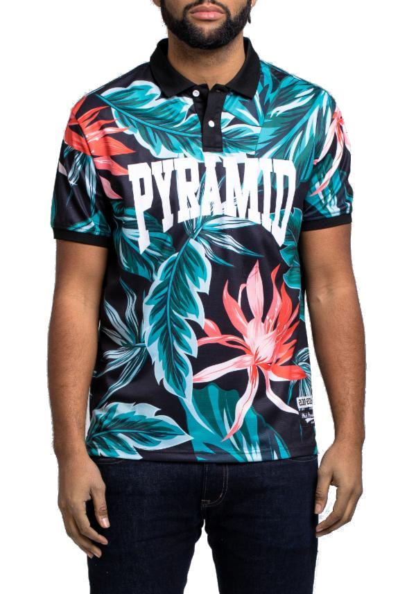 BLACK PYRAMID FOLIAGEポロシャツ半袖(Y1161120)/AV48/ブラックピラミッド/クリスブラウン/大きいサイズ/キングサイズ【送料無料】