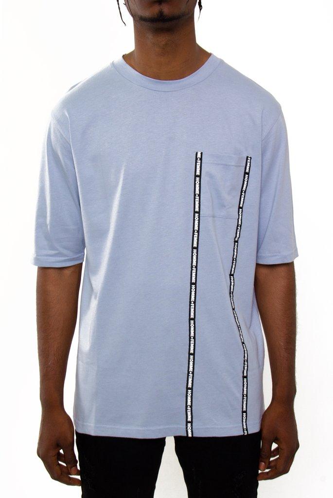 HOMME+FEMME LA TAPED POCKET Tシャツ(HFMOES)/オムファムエルエー/B.BLUE/AW6/USLANYカジュアルストリートHIPHOPB系【送料無料】