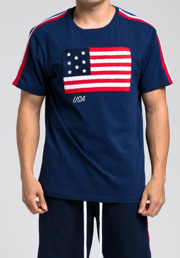 HUDSON NYC OUTERWEAR USA Tシャツ半袖(H1052196)NAVY/AW50/M/L/L/XL/2XL/3XL/4XL★USLANYカジュアルストリートHIPHOPB系大きいサイズキングサイズ【送料無料】