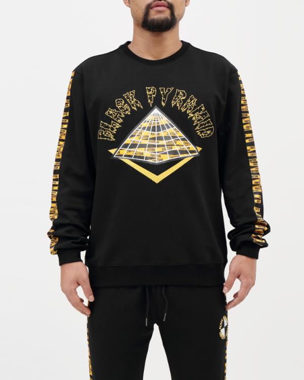 BLACK PYRAMID HAZARD TAPE LOGO クルーネック/トレーナー(Y5161681)/ブラックピラミッド/クリスブラウン/AY37★US購入B系HIPHOPカジュアルストリートセレブ【送料無料】