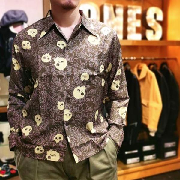 """ロングスリーブ ハワイアンシャツ 「片目髑髏」/ L/S Hawaiian Shirt """"片目髑髏""""  / 【ドライボーンズ】メンズ シャツ 長袖 トップス"""