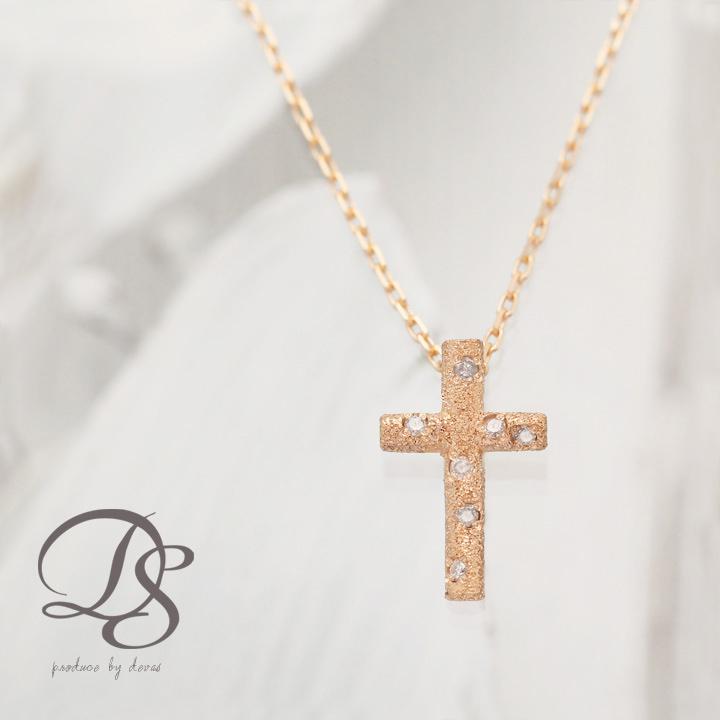 K18 18金 ピンクゴールドネックレス クロス ピンクゴールド ネックレス ダイヤモンド gold necklace 18k PG ダイヤ レディース 重ねづけ あずきチェーン プレゼント 贈り物 送料無料 DEVAS ディーヴァス