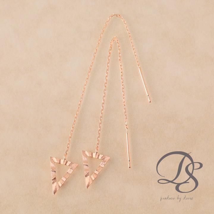 ピンクゴールド ピアストライアングル 三角形 アメリカンピアス レディース 18金 k18 18k PG  プレゼント DEVAS ディーヴァス