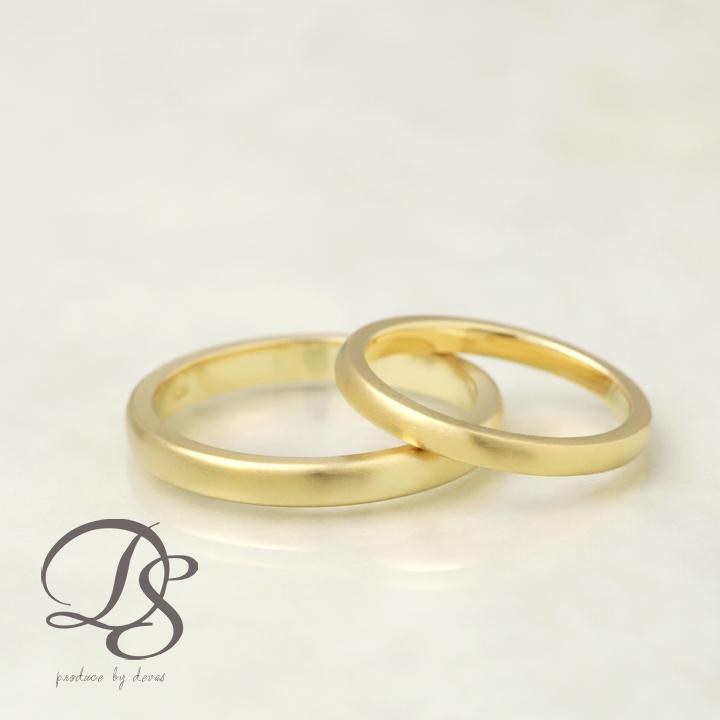 K18 ゴールド ペアリング 2本セット 18金 18k リング 甲丸 レディース メンズ 結婚指輪 マリッジリング 誕生日  プレゼント 贈り物 妻 彼女 かわいい ゴールドリング ペア ジュエリー ペアアクセサリー 【DEVAS ディーヴァス】