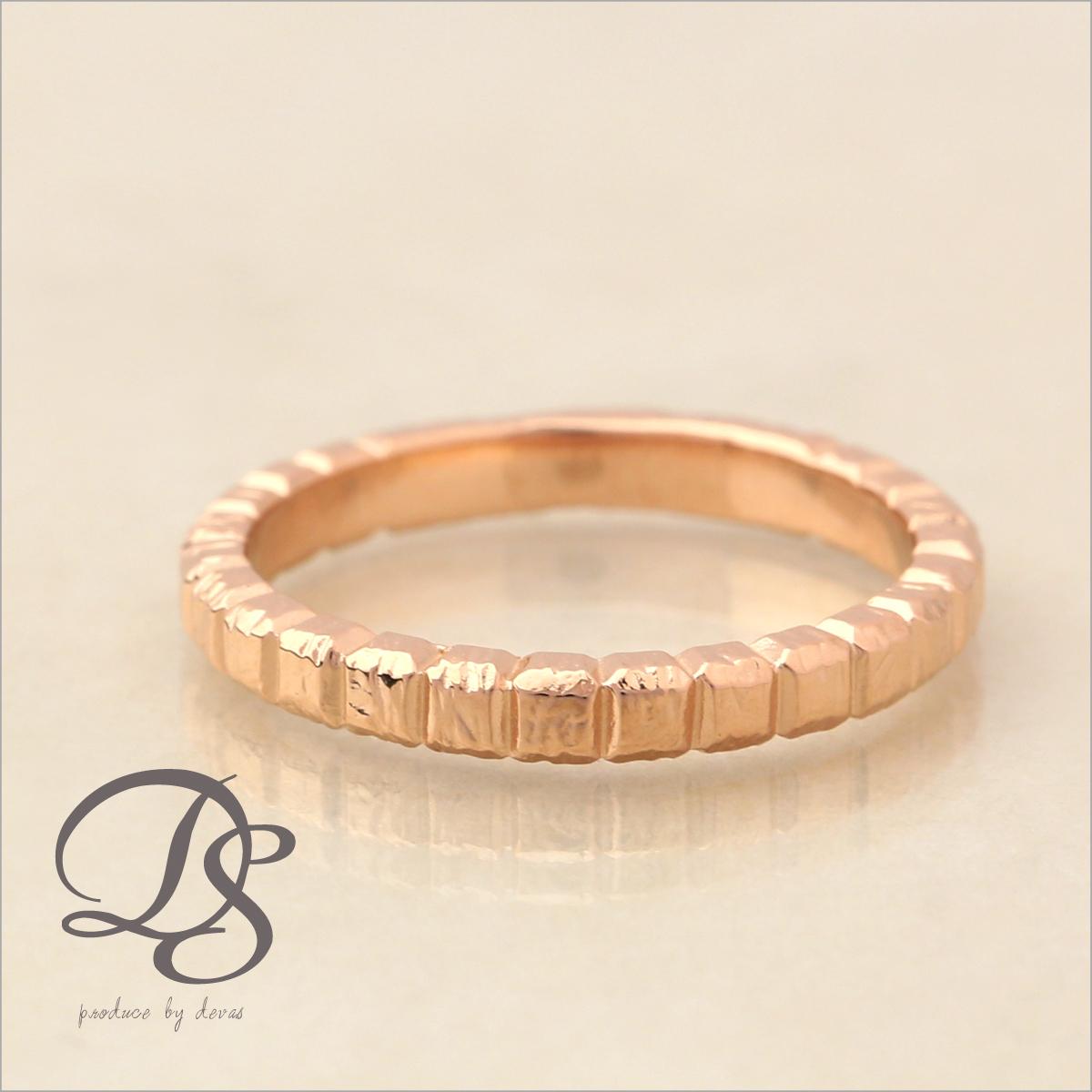 ピンクゴールド 18金 リング レディース 18k 指輪 メンズ ピンクゴールド リング K18 PGブロックデザイン(L) シンプル 無機質誕生日 ギフト プレゼント 贈り物 妻 彼女 ペアリング 結婚指輪DEVAS ディーヴァス