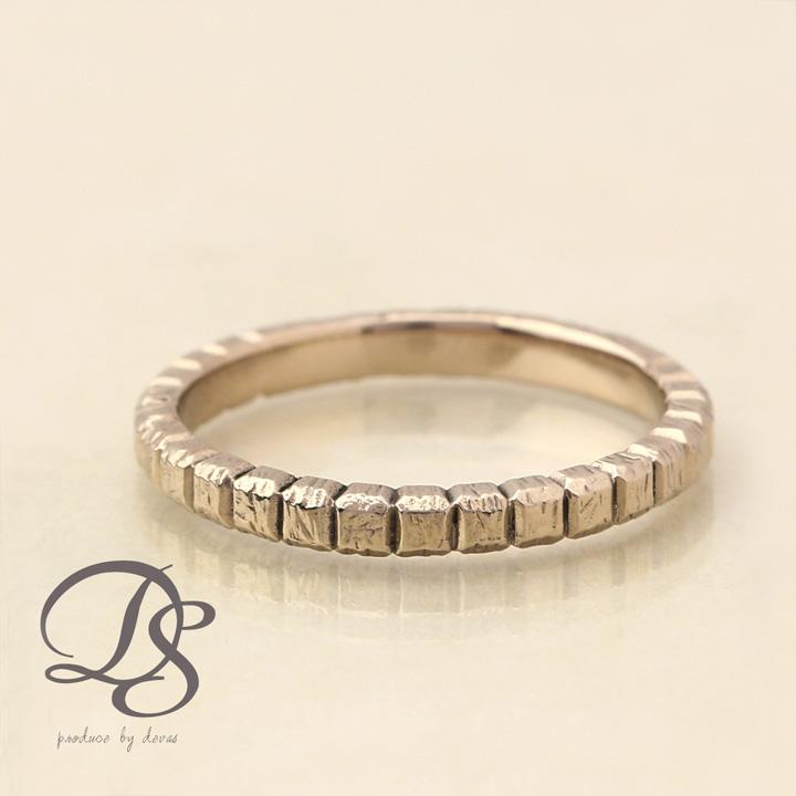ホワイトゴールド リング レディース 18k 指輪 メンズ リング K18 WGブロックデザイン(L) シンプル 無機質誕生日 ギフト プレゼント 贈り物 妻 彼女 ペアリング 結婚指輪DEVAS ディーヴァス 【送料無料】