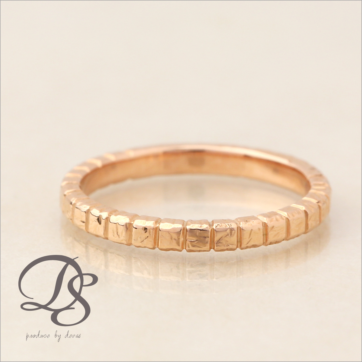 ピンクゴールド 18金 リング レディース 18k 指輪 メンズ ピンクゴールド リング K18 PGブロックデザイン(M) シンプル 無機質誕生日 ギフト プレゼント 贈り物 妻 彼女 ペアリング 結婚指輪DEVAS ディーヴァス