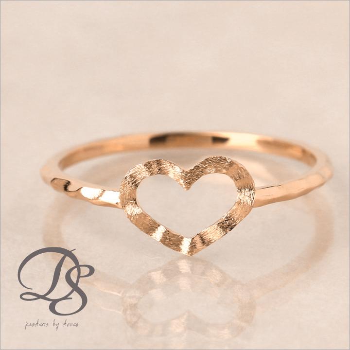 ピンクゴールド リング レディース ピンキーリング 18金 指輪 レディース 18k K18 PGハート オープンハート デザインリング 0号 1号 2号 3号 4号 5号誕生日 ギフト プレゼント 贈り物 妻 彼女DEVAS ディーヴァス