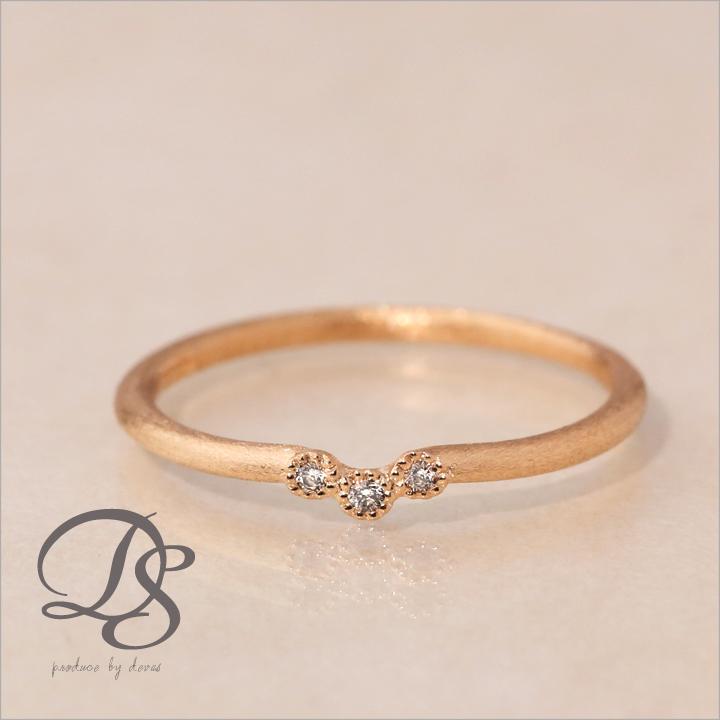ピンクゴールド 18金 リング レディース ピンキーリング 18k 指輪 レディース ピンクゴールド リング K18 ダイヤモンドリングダイヤモンド 3石 V字 0号 1号 2号 3号 4号 5号誕生日 ギフト プレゼント 贈り物 妻 彼女DEVAS ディーヴァス