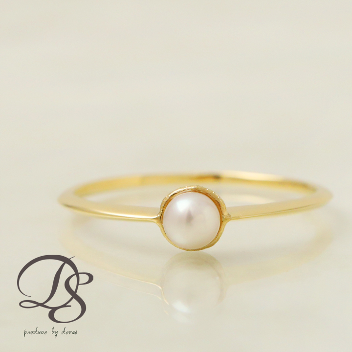 Genuine Pearl Akoya Part Gold Ring 3 5 Mm Color White K18 Devas Yubiwa Birthday Gifts Gift Woman Wife Her Cute Fashion Las Jewelry