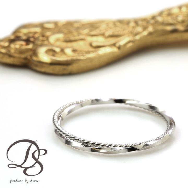 WG·K18 ホワイトゴールド 2連 ピンキーリング(スパイラルxねじれ) 華奢なデザインの2連がシンプルでオシャレ(18k/18金ホワイト·指輪) DEVAS ディーヴァス 誕生日    プレゼント   妻 レディース リング ゴールドリング ゴールド