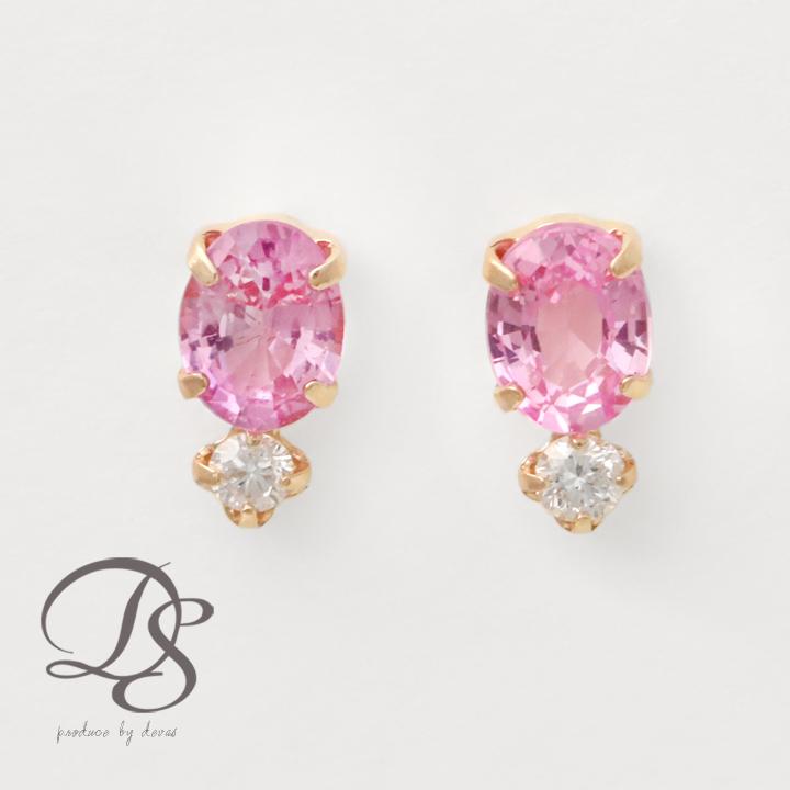 ピアス 18k ピンクゴールド レディース ピンクサファイア ダイヤモンド上品 プチサイズ K18 18金 PG プレゼント DEVAS