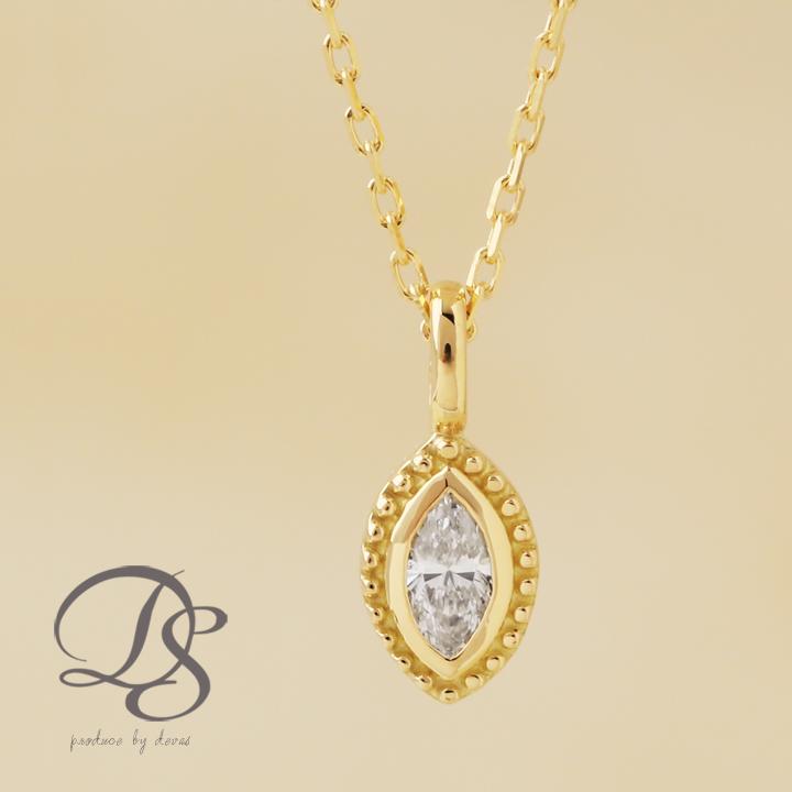 ダイヤモンド ネックレス 1粒18金 ネックレス ダイヤ 0.10ctUP マーキスカット 一粒ダイヤK18ネックレス レディース プチネックレス レディースDEVAS