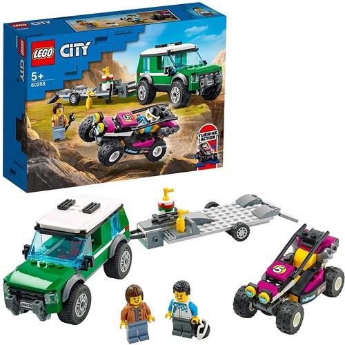 男の子 おもちゃ ブロック 知育玩具 配送員設置送料無料 乗り物 ごっこ遊び ギフト レゴ 5才から 爆安 誕生日 レースバギー輸送車 LEGO 60288 シティ