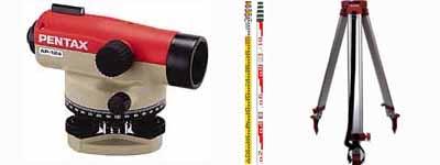 測量実測セット2(PENTAXオートレベル AP-281+アルミ三脚+アルミスタッフ5m5段)